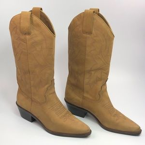 Nine West Tan Leather Western Cowboy Boots
